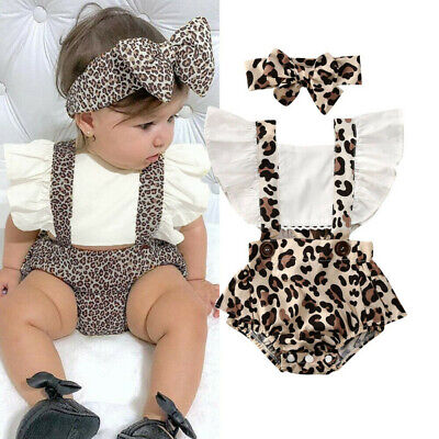 Toddler Infant Baby Girls Ruched Leopard Print Romper Bodysuit Outfits Clothes