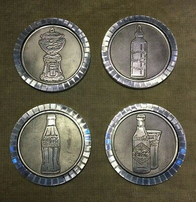Lot Of Four Vintage Chrome Drink Coca-Cola Advertising Drink Coasters