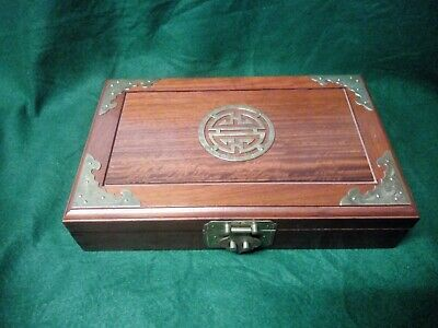 Ornate Chinese Cherry Wood Jewellery Box with brass detailing