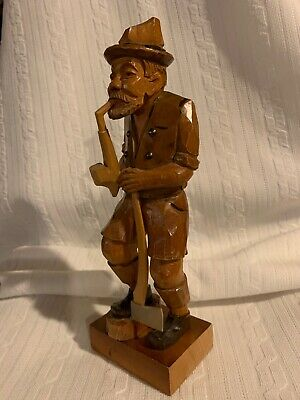 Hand Carved Old Man Figure Vintage Art Collectible Wood Carving Ax Pipe
