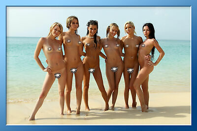 "24""x36""  Poster Naked Russian Girls. Amateur Girls Posing at The Beach."