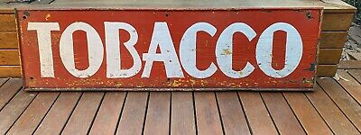 Large Old Hand Painted Shop Advertising Sign TOBACCO Early 1900's SIGNWRITING