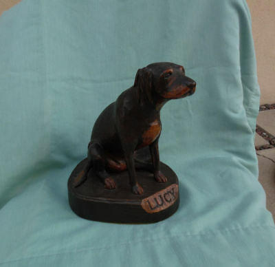 Antique Expertly Hand Carved Wood Dog Figure Sculpture, Signed By Artist