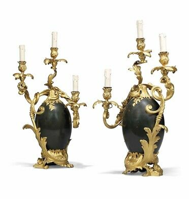 Pair of 19th C. Gilt and Patinated Bronze Candelabra By Henry Dasson Dated 1886