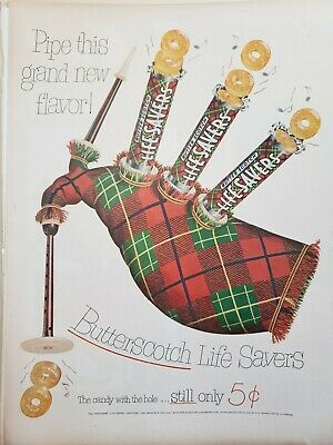Lot of 3 Vintage 1961 Life Savers Candy Ads Bagpipes Grand New Flavor