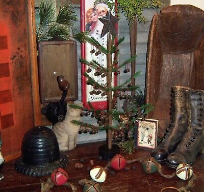 """Primitive Antique Vtg Style 17"""" Feather Christmas Jingle Bell Tree Tin Star Deco"""