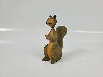 """Vintage Small Wooden Squirrel Carving 3"""" tall. Very petite and fragile. Is nice!"""
