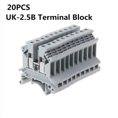 20PCS UK-2.5B 800V 32A 2.5mm² DIN Rail Screw Mounting Terminal Connector Block