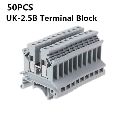 50PCS UK-2.5B 800V 32A 2.5mm² DIN Rail Screw Mounting Terminal Connector Block
