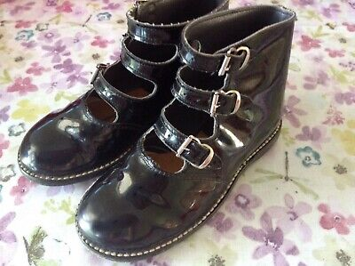 Vintage Child's  Black Patent Shoes ( Three Straps)