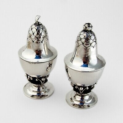 Georg Jensen Blossom Salt Pepper Shakers Set Sterling Silver 1915 Denmark