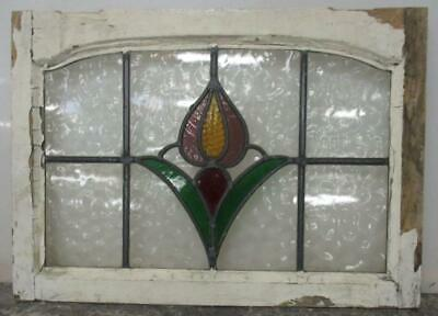 "MIDSIZE OLD ENGLISH LEADED STAINED GLASS WINDOW Arch with Tulip 25"" x 17.75"""