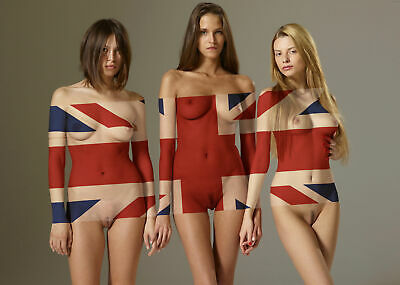"24""x36""  Poster Stark Nude British Models Cheeky Brit Union"
