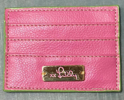 "Lilly Pulitzer Women's Pink & Green 3-Pocket ID Card Holder 4 1/4"" x 3 1/8"""