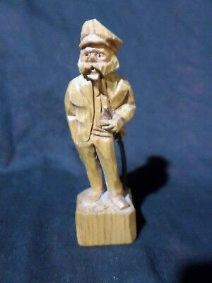Whimsical Carved Wooden Figure Bearded Gentleman Walking Stick Marked A G