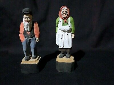 Two Carved Wood Figures - Man With Beard & Woman - Andre Bourgault - Canada