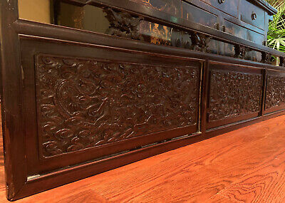 A Stunning Large and Rare Chinese Qing Dynasty Carved Zitan Dragon Panel.
