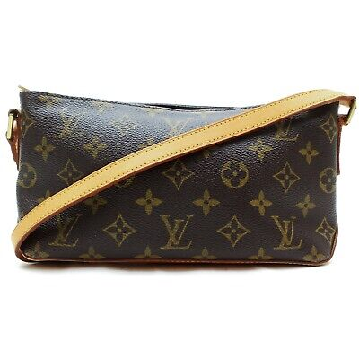 Authentic Louis Vuitton Shoulder Bag Trotteur M51240 Browns Monogram 401212