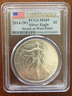 2014-W First Strike American Silver Eagle ASE $1 PCGS MS 69 Struck at West Point
