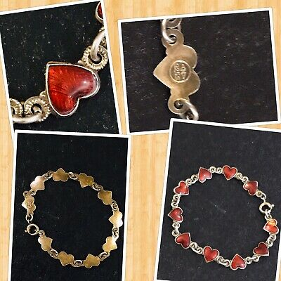 Antique Norway 925S (ANA) Sterling Silver Red Enamel Heart Link Bracelet 5.5""