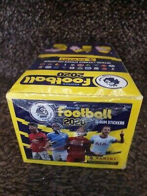 Full box of Panini FOOTBALL 2020 Premier League Stickers, 100 Packs.