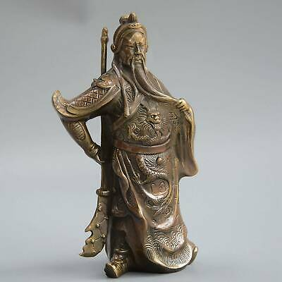 Collect China Old Bronze Hand-Carved Duke Guan Mighty Exorcism Auspicious Statue