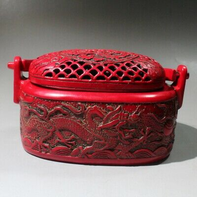 Collect China Royal Red Coral Hand-Carved Myth Dragon Delicate Warm Hand Furnace