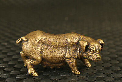 chinese old bronze pig statue figure collectable Tea Pet table decoration