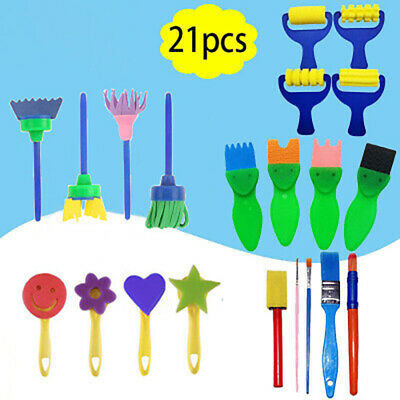 21/42×Kids Paint Brushes Sponge Painting Brush Tool Toy Set for Children Toddler