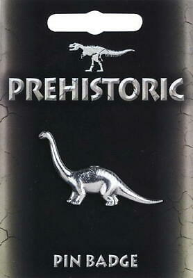 Diplodocus Dinosaur Stud-back Brooch / Pin in Fine Pewter