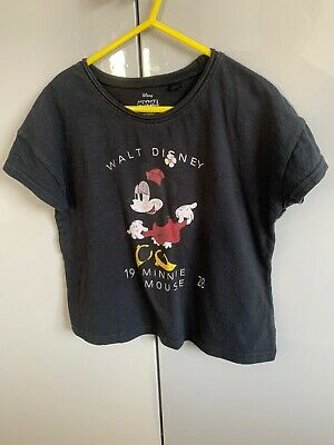 Girls NEXT Black Cropped Minnie Mouse T Shirt Age 6