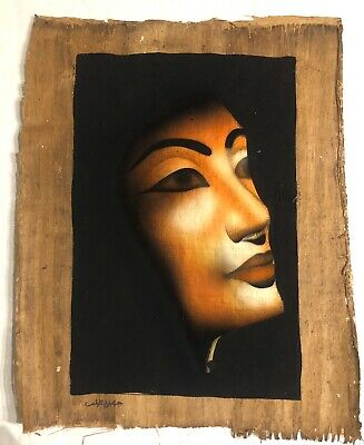 "Authentic Egyptian Papyrus Painting Imported From Egypt ""Nefertiti"""