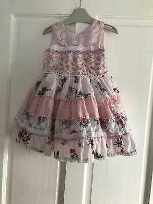 Girls Next Beautiful Floral Patchwork Prom Style Dress Age  3 - 4 Years *Rare*