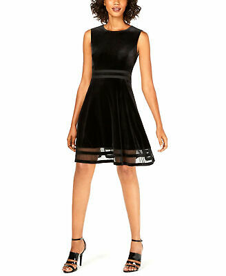 Calvin Klein | Velvet Illusion A-Line Dress | Black | 10