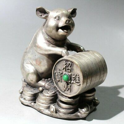 Collectable Old Miao Silver Mosaic Agate Hand-Carved Lovely Pig Delicate Statue