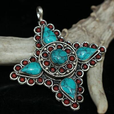 China Collect Old Miao Silver & Turquoise Handwork Carve Noble Decorate Pendant