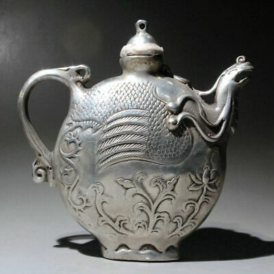 Collect China Old Miao Silver Hand-Carved Phoenix Delicate Unique Noble Teapot