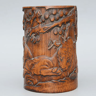 AAA Collectable Chinese Old Boxwood Hand-Carved Scenery & Figure Noble Brush Pot
