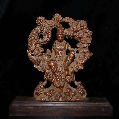 Collect China Old Boxwood Carve Dragon & Phoenix & Kwan-yin Auspicious Statue