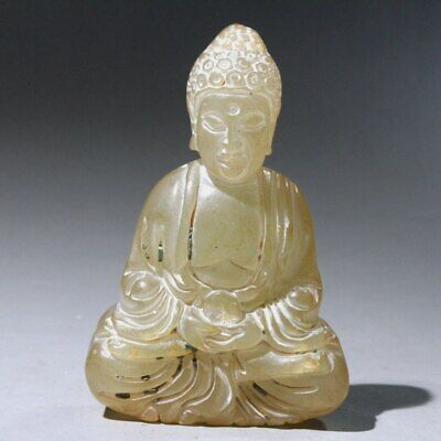 Collectable China Natural Old Jade Hand-Carved Sit Buddha Bring Luck Chic Statue