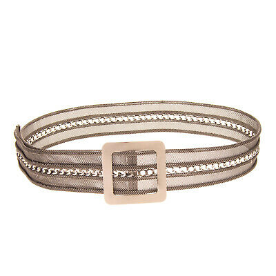 RRP €175 NANNI Metal Chain Belt Size 85/34 Aged Metal Blank Buckle Made in Italy