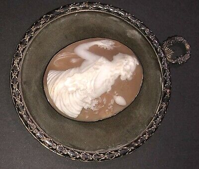 Fine Antique Victorian Hand Carved Classical Cameo Shell Solid Silver Frame