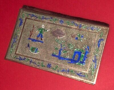 Fine Antique Chinese Export Gold Gilt Silver Filigree Enamel Card Case Holder