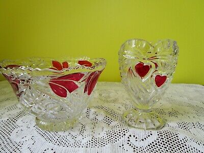 Antique Early American Patterned  Ruby Stained Glass Bowl And Small Vase