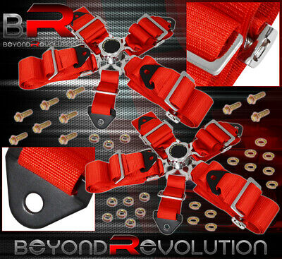 For Chevy 2X 3Inch 5-Point Race Seat Belt Cam Lock Harness Strap Time Attack Red