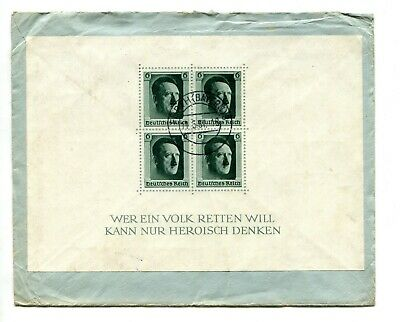 1937 GERMANY. HITLERS CULTURAL FUND SOUVENIR SHEET ON COVER. FURTH to BABBACOMBE