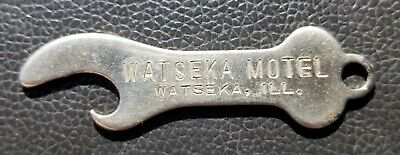 Watseka Iroquois County Motel Bottle Cap Church Key Open Metal Ad Rare IL Old