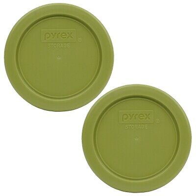 Pyrex 7202-PC Olive Green Plastic Replacement Storage Lid Cover (2-Pack)
