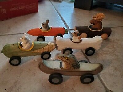 Hand Carved Animal Cars Made in China Well Made Dog, Pig, Gator, Moose, Rabbit
