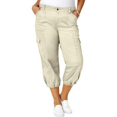 Style & Co. Womens Beige Cargo Cropped Casual Capri Pants Plus 14W BHFO 0492